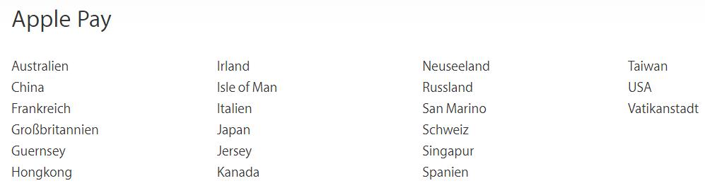 Länder mit Apple Pay Zahlungsmöglichkeit